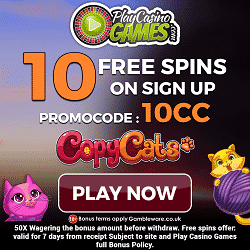 10 Free Spins on sign up + 10 more after 1st deposit at PlayCasinoGames
